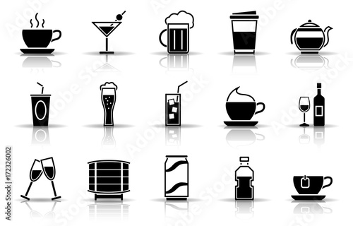 Getränke Iconset - Schwarz (Schatten)\