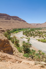 Palm lined dry river bed with red orange mountains near Tiznit in Morocco, North Africa