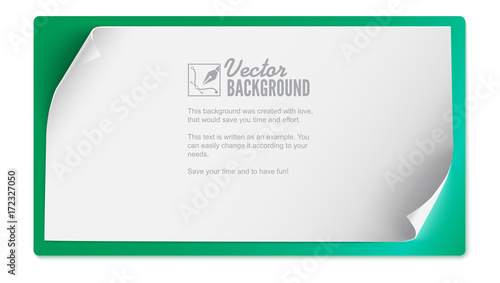 vector curved paper banner isolated on colored background white