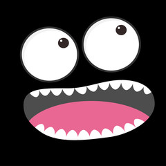 Sad face emotion. Boo spooky. Big eyes, tooth, tongue, mouse. Square head. Happy Halloween card. Flat design style Black background.
