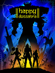 Lord Rama with bow arrow killing Ravan in Dussehra Navratri festival of India poster