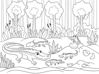 Childrens cartoon family of crocodiles in Africa. Coloring book. Black lines, white background