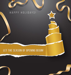 Happy holidays vector illustration torn paper in the shape of Christmas tree. Happy holidays with gold ribbon.