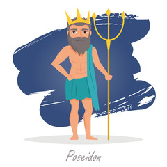 Poseidon. Greek gods. Vector illustration.