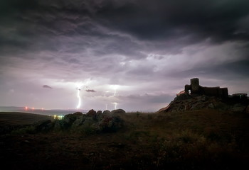 Enisala Medieval Fortress also referred as Heracleea Fortress on stormy weather