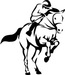 Racing horse jumping - stylized vector illustration