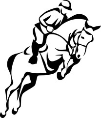 Show jumping - stylized vector illustration