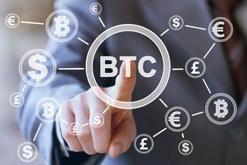 Businessman pressing button bitcoin network currency internet icon