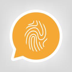 Gelbe Sprechblase - Fingerabdruck