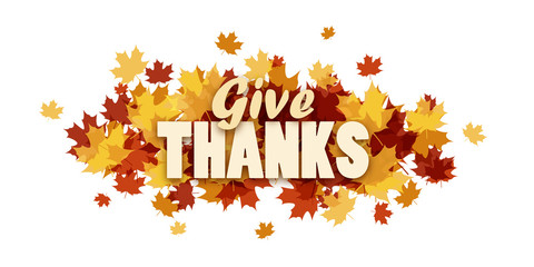 GIVE THANKS  banner with autumn leaves