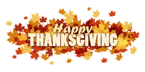 HAPPY THANKSGIVING banner with autumn leaves