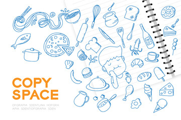 """Notebook with kid boy hand drawing set, Imagine of Future Occupation """"Chef"""" concept idea illustration isolated on white background, with copy space"""