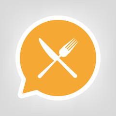 Gelbe Sprechblase - Gastronomie-Symbol