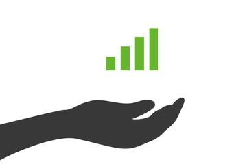 Hand hält Balkendiagramm - Statistik