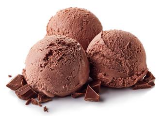 Three chocolate ice cream balls