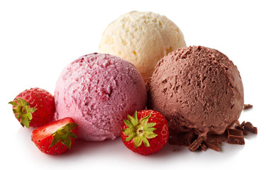 Three various ice cream balls - strawberry, vanilla and chocolate