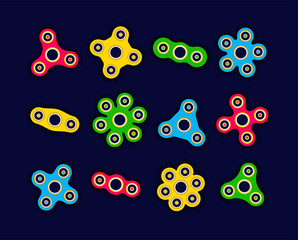 Hand spinners - modern flat vector objects