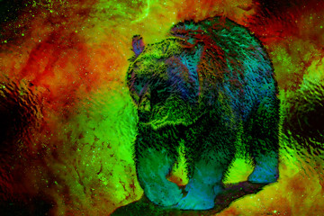 mighty bear in space. Photos and graphic effect. Computer collage. Metal effect.