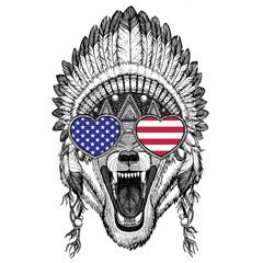 Wolf Dog Wild animal Hand drawn illustration for tattoo, emblem,