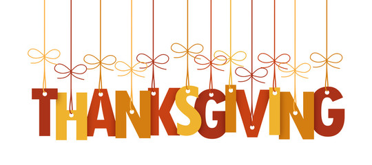 THANKSGIVING vector suspended letters with autumn colours