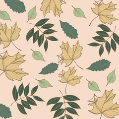 Leaves branches pattern. In retro style. It contains simple forms leaves and twigs and leaves with berries. Color version.