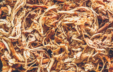 Pulled pork from oven in glass bowl ready for serving. Wall mural
