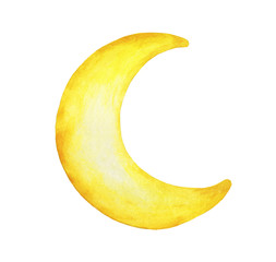 Yellow crescent moon painted isolation on white background - Watercolor illustration.