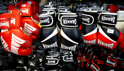 Boxing gloves are on display in the Daniken Fight Gear shop in Vienna
