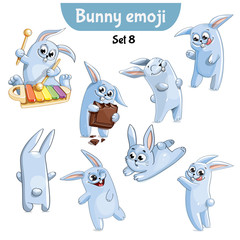 Vector set of cute rabbit characters. Set 8