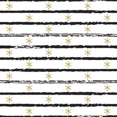 Glitter gold striped Christmas New Year seamless pattern with snowflakes. Paint brush strokes background. Golden snowflakes. Stripes lines. Vector illustration. Hipster trendy wrapping gift paper.