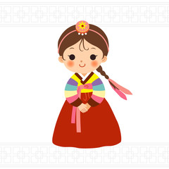 Cute little girl in korean traditional costume