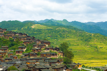 Xijiang Miao Village Houses Mountains Aerial View