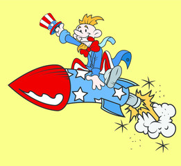 Uncle Sam on Rocket Vector