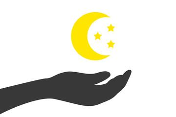Hand hält Mond und Sterne