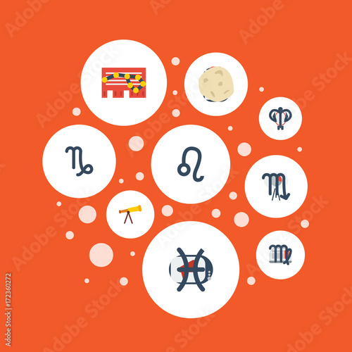 Flat Icons Fishes Zodiac Sign Ram And Other Vector Elements Set