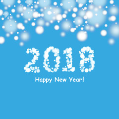 Happy new year 2018 background with snowman and snow, vector illustration.