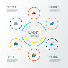 Climate Colorful Outline Icons Set. Collection Of Hazy, Overcast Weather, Clouded And Other Elements. Also Includes Symbols Such As Cloud, Hazy, Moon.