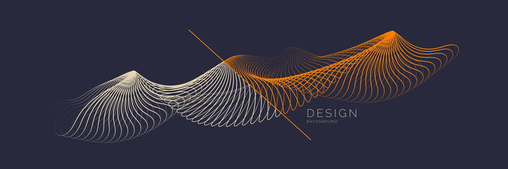 Vector abstract background with dynamic waves, line and particles.