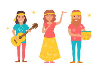 Music band hippie. Vector. Cartoo