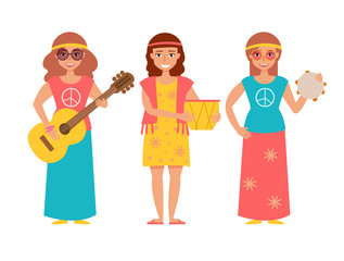 Music band hippie. Vecto