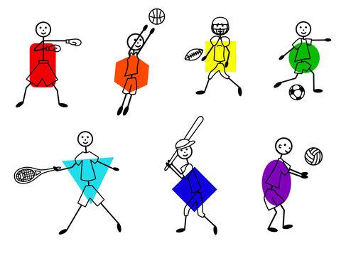 Stick figure different kind of sports set