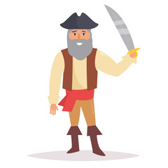 Pirate with sword. Vector. Cartoon.