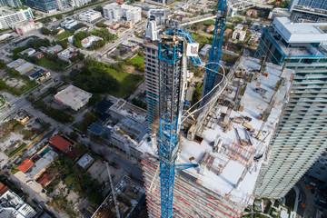 Construction crane fallen after Hurricane Irma