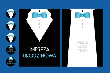 birthday party invitation with suit & bow tie- vector design for man male