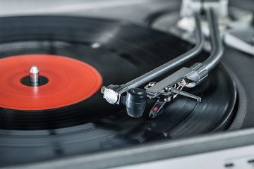 Vinyl player. Vinyl plate and needle close-up.
