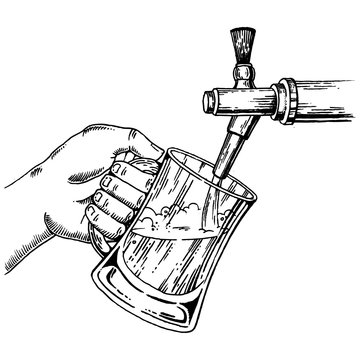 Beer pours glass from beer tap engraving vector