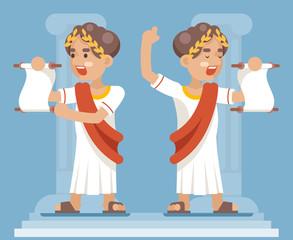 Scroll Declaration Roman Greek Retro Vintage Businessman Cartoon CharacterIcon Flat Design Vector Illustration