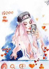 watercolor portrait of a girl. Selfie