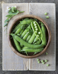 Hearthy fresh green peas and pods in a wooden bowl. Branches of pea. Freshly harvested pea pods on a wooden board