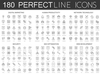 180 modern thin line icons set of digital marketing, human productivity, network technology, cyber security, SEO optimization, web development.